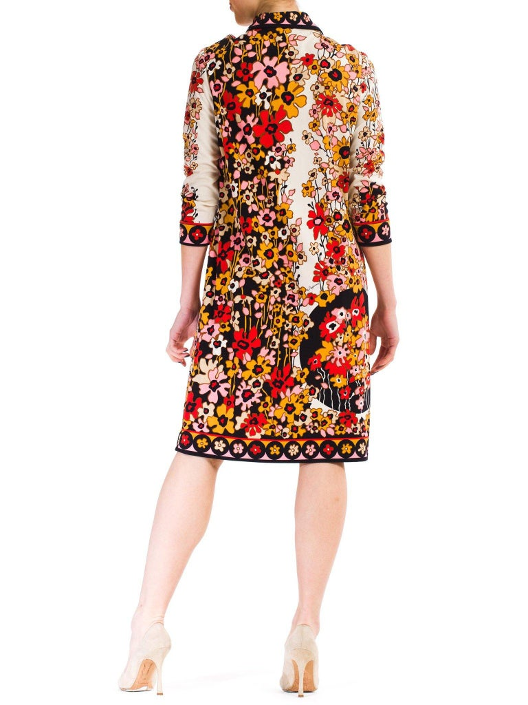 1960S PAGANNE Floral Printed Polyester Jersey Mod Shift Dress For Sale 4