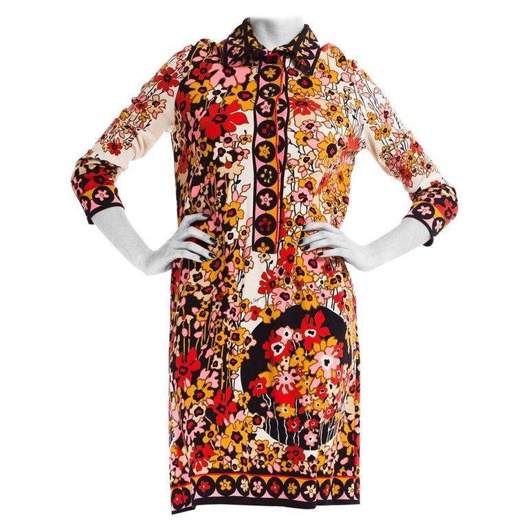 1960S PAGANNE Floral Printed Polyester Jersey Mod Shift Dress For Sale