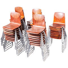 1960's Pagholz Dining Chairs Laminated Hardwood And Chrome Legs - Various Qty