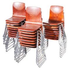 1960s Pagholz Dining Chairs Laminated Hardwood Chrome Legs, Set of Twenty Four
