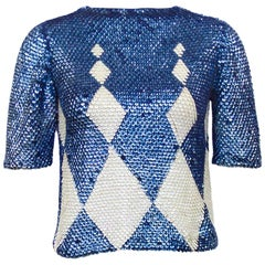 1960s Paillette Navy and Cream Harlequin Argyle Sweater