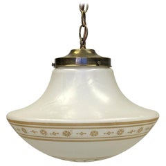 1960s Painted Schoolhouse Globe Pendant Light Done in an Antique Brass Finish