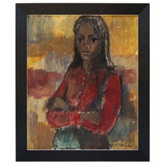 1960s Painting of a Woman by Richard Martinez