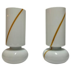 1960s Pair Italian Murano and White Opaline Glass Table Lamps by Vistosi