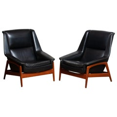 1960s, Pair Lounge Chairs 'Profil' by Folke Ohlsson for Dux in Leather and Teak