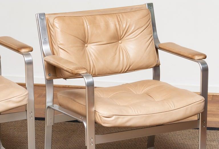 1960s, Pair 'Mondo' Arm Club Chairs in Beige Leather by Karl Erik Ekselius JOC 3