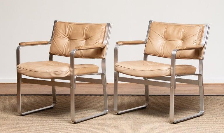 Post-Modern 1960s, Pair 'Mondo' Arm Club Chairs in Beige Leather by Karl Erik Ekselius JOC