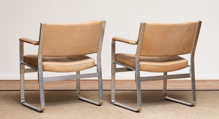 1960s, Pair 'Mondo' Arm Club Chairs in Beige Leather by Karl Erik Ekselius JOC In Good Condition In Silvolde, Gelderland