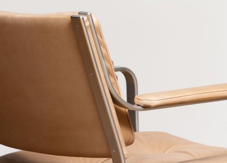 Aluminum 1960s, Pair 'Mondo' Arm Club Chairs in Beige Leather by Karl Erik Ekselius JOC