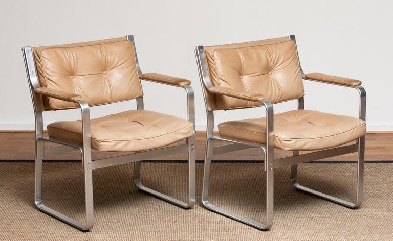 1960s, Pair 'Mondo' Arm Club Chairs in Beige Leather by Karl Erik Ekselius JOC 1