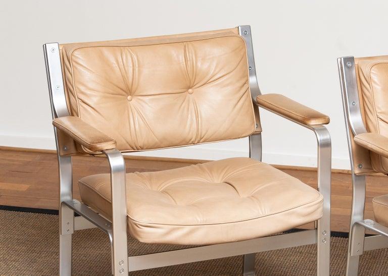 1960s, Pair 'Mondo' Arm Club Chairs in Beige Leather by Karl Erik Ekselius JOC 2