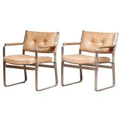 1960s, Pair 'Mondo' Arm Club Chairs in Beige Leather by Karl Erik Ekselius JOC