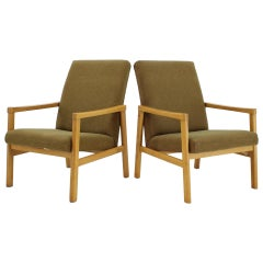 1960s Pair of Beech Armchairs, Czechoslovakia