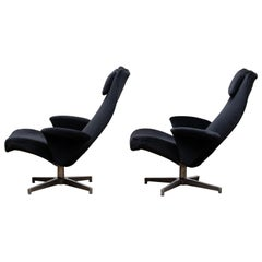 1960s Pair of Black Velvet Contourett Ronto Swivel Chairs by Alf Svenson for DUX