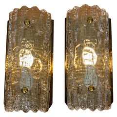 1960s, Pair of Brass and Crystal Scones by Carl Fagerlund for Orrefors, Sweden