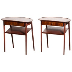 1960s Pair of Brass and Mahogany Slim Nightstands from Sweden