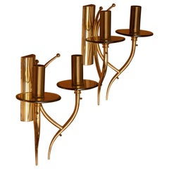 1960s, Pair of Brass and Smoked Glass Wall Lights, Italy