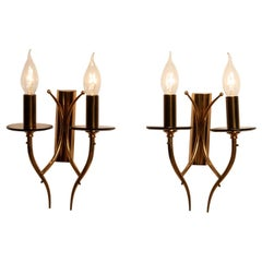 1960s, Pair of Brass and Smoked Glass Wall Lights or Scones, Italy
