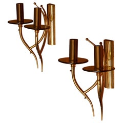 1960s, Pair of Brass and Smoked Glass Wall Lights / Scones, Italy