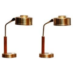 1960s, Pair of Brass and Teak Table / Desk Lamps by Bjs Skellefteå, Sweden