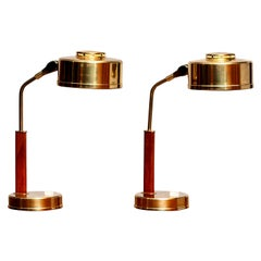 1960s, Pair of Brass and Teak Table or Desk Lamps by BJS Skellefteå, Sweden