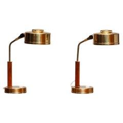 1960s, Pair of Brass and Teak Table or Desk Lamps by Bjs Skellefteå, Sweden
