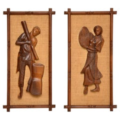 1960s Pair of Carved Walnut Decorative Reliefs Wall Art