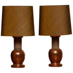 1960s, Pair of Ceramic and Copper Bitossi Italy Table Lamps for Bergboms, Sweden
