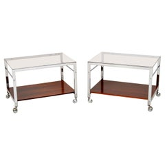 1960s Pair of Chrome Side Tables