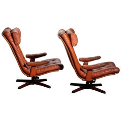 1960s Pair of Cognac Leather Swivel and Relax Lounge Chairs, Göte Design Nässjö