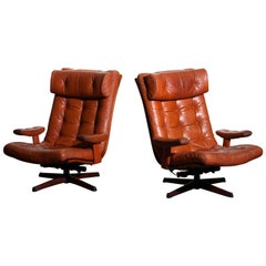 1960s Pair of Cognac Leather Swivel / Relax Lounge Chairs by Göte Design Nässjö
