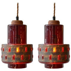 1960s Pair of Copper and Red Colored Glass Pendants by Nanda Still