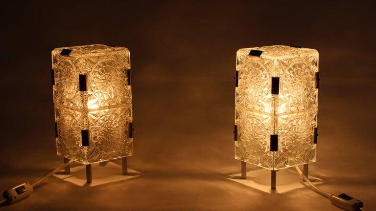 Pair of crystal glass table lamps, made in the 1960s in Kamenicky Šenov (Preciosa), Czech Republic.