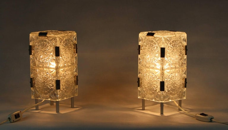 Mid-Century Modern 1960s, Pair of Crystal Glass Table Lamps, Kamenicky Šenov For Sale