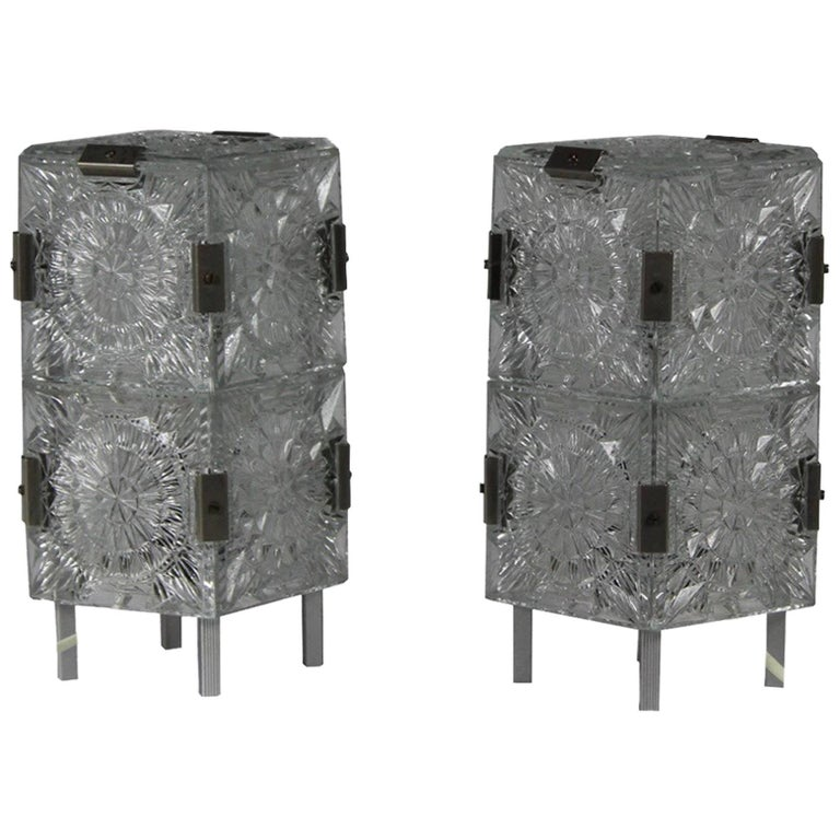 1960s, Pair of Crystal Glass Table Lamps, Kamenicky Šenov For Sale