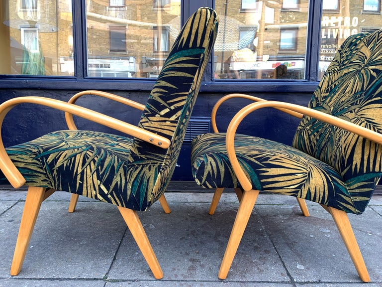 Fabric 1960s Pair of Czech Republic Lounge Chairs Armchairs by Jaroslav Smidek for Ton For Sale
