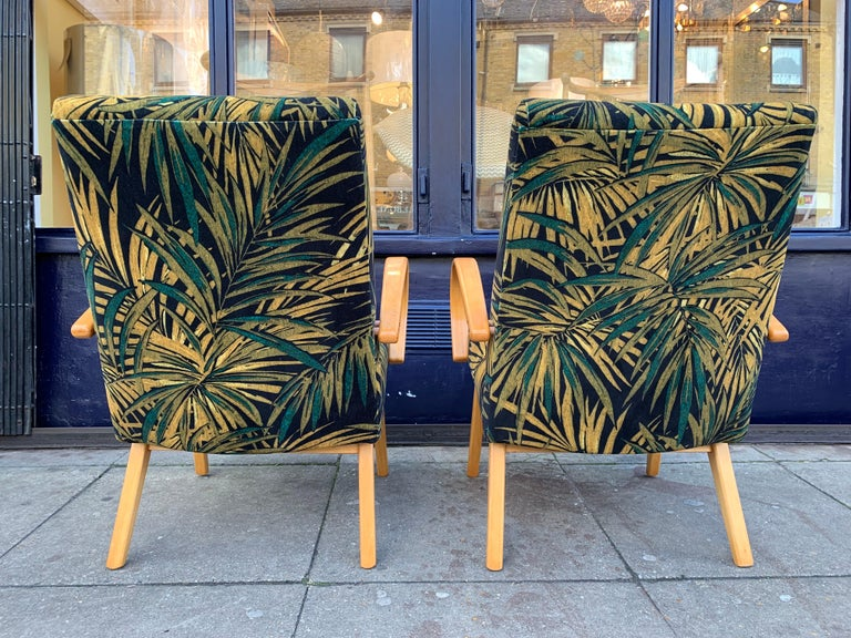 1960s Pair of Czech Republic Lounge Chairs Armchairs by Jaroslav Smidek for Ton For Sale 3