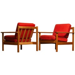 1960s Pair of Danish Oak Volther Style Lounge / Easy Chairs