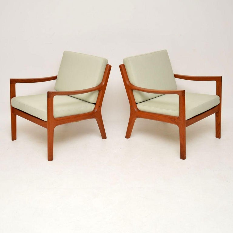 Mid-Century Modern 1960s Pair of Danish Teak Armchairs by Ole Wanscher For Sale
