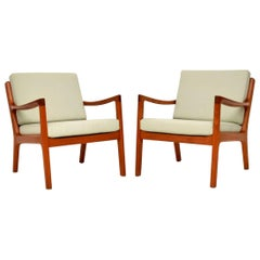 1960s Pair of Danish Teak Armchairs by Ole Wanscher