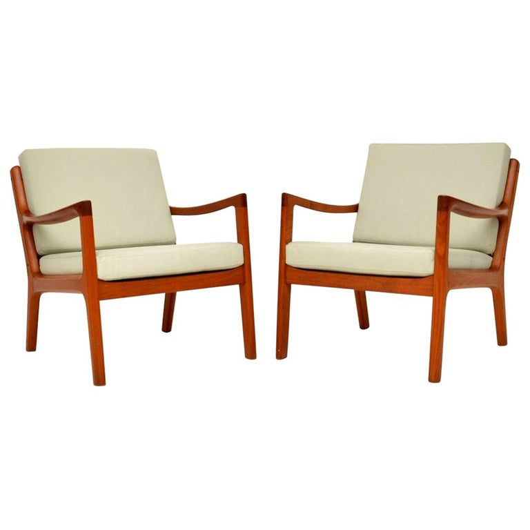 1960s Pair of Danish Teak Armchairs by Ole Wanscher For Sale