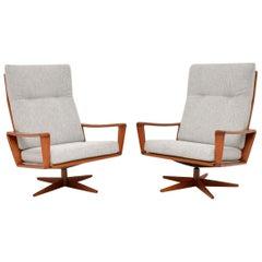 1960s Pair of Danish Teak Swivel Armchairs by Arne Wahl Iversen