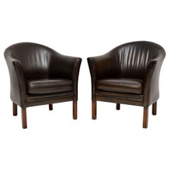 1960s Pair of Danish Vintage Leather Armchairs by Mogens Hansen