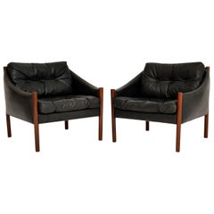 1960s Pair of Danish Vintage Leather Armchairs