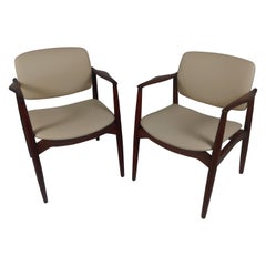 1960s Pair of Erik Buch Model 67 Captains Chair in Teak Reupholstered in Leather