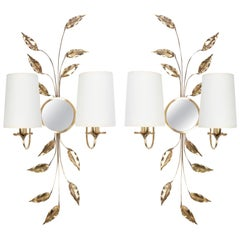 1970s Pair of Foliage Sconces in Gilded Brass from Maison Honoré