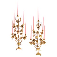 1960s Pair of Gilt Tole Italian Candelabra in the Hollywood Regency Style