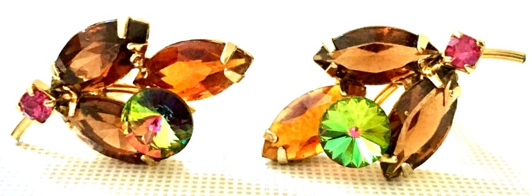 Women's 1960'S Pair Of Gold & Austrian Crystal Abstract Flower Earrings For Sale