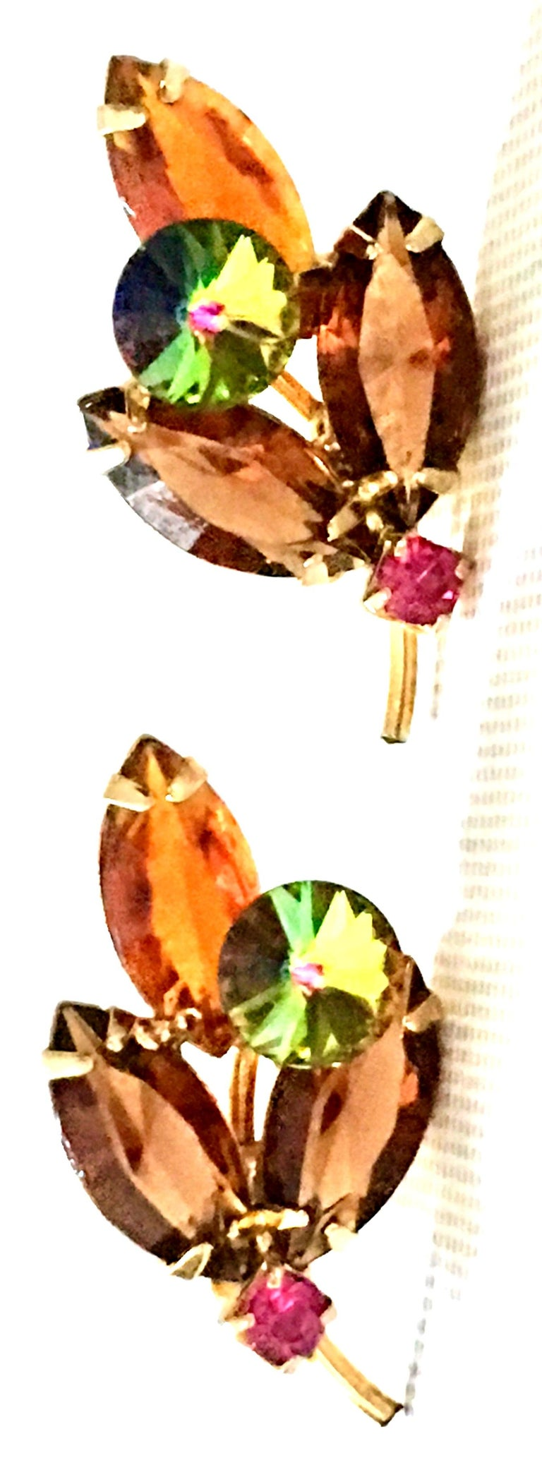 1960'S Pair Of Gold & Austrian Crystal Abstract Flower Earrings For Sale 1