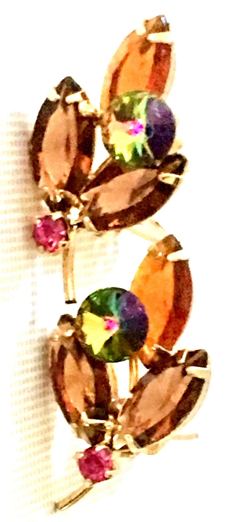 1960'S Pair Of Gold & Austrian Crystal Abstract Flower Earrings For Sale 2